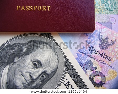 Passport and currency focuses on us dollar.Passport and currency focuses on us dollar.