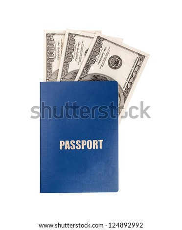 Passport and dollars on white background