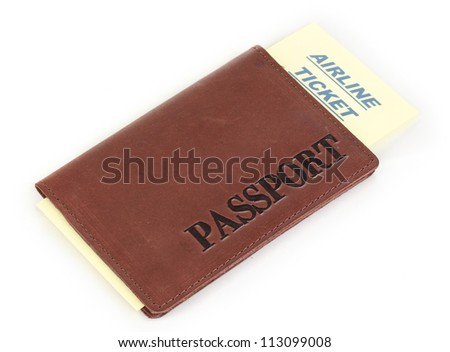 Passport and ticket isolated on white
