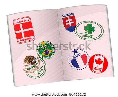 passport illustration design with around the world stamps