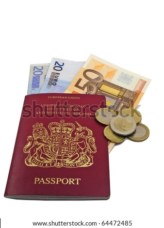 Passport & money - Travel expenses concept uncropped on white background.