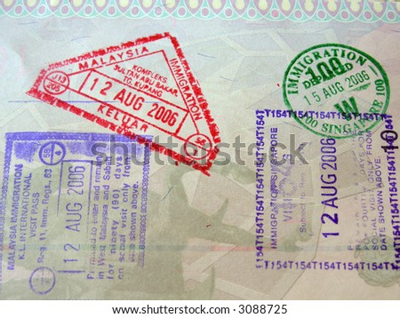 Passport page with asian countries stamps