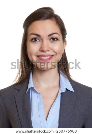 Passport picture businesswoman with brown hair