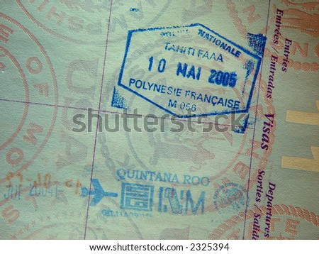 passport stamp from tahiti and mexico