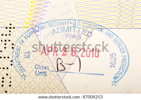 passport stamp of the american homeland security