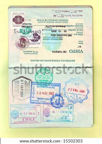 Passport stamps and visa