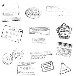 passport stamps background for your design