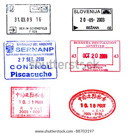 Passport stamps for souvenir: Bermuda, China, Germany, Slovenia and Machu Picchu of Peru