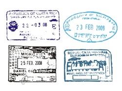 Passport stamps from Costa Rica, Nicaragua, Guatemala, Honduras