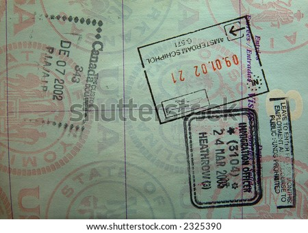 passport stamps from heathrow amsterdam and canada