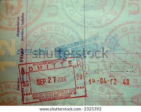 passport stamps from mexico and bermuda