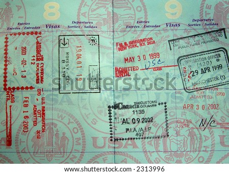 Passport stamps from USA, Canada, France, England