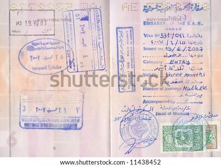 Passport visa stamps - Syria, Jordan