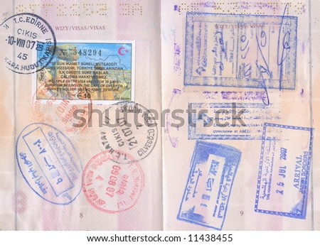 Passport visa stamps - Turkey, Jordan