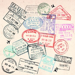 Passport visas stamps on sepia textured, vintage travel collage background