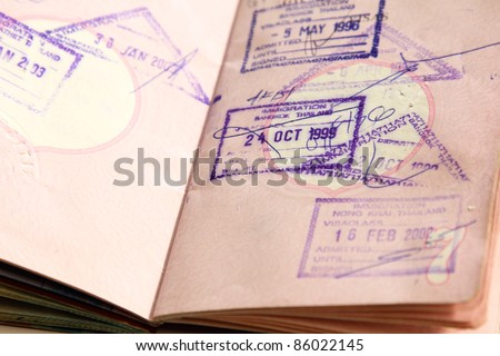 Passport which various stamp from difference countries