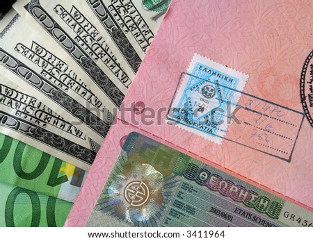 Passport with European visa and bills (background).
