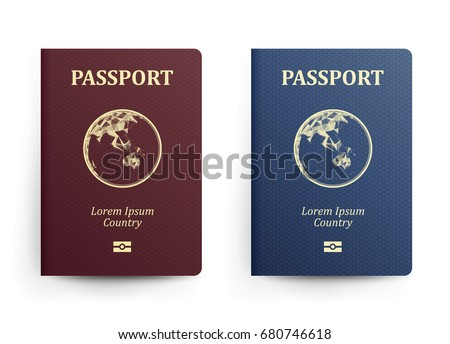 Passport With Map. Australia. Realistic Vector Illustration. Red And Blue Passports With Globe. International Identification Document. Front Cover - Shutterstock ID 680746618