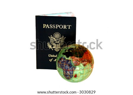 passport with precious gem globe for concept of international travel