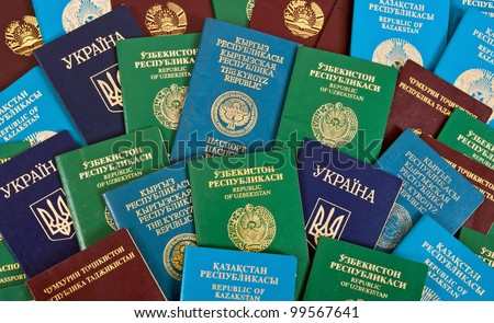 Passports as the background