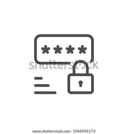 Password line icon isolated on white