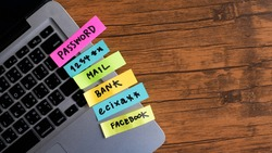 password management, password, mail, bank, facebook, message concept written post it on laptop keyboard.