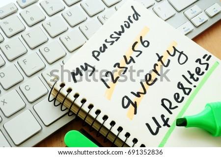 Password management. Weak and strong password. Stock photo ©