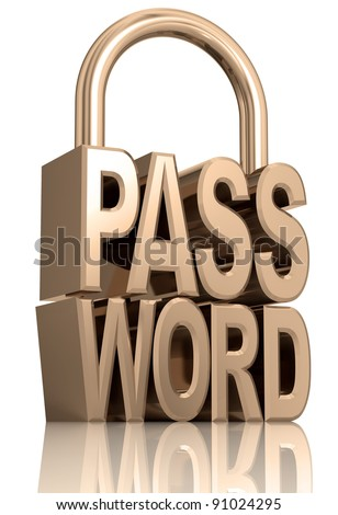 Password padlock isolated on white background, security allegory illustration, 3d.