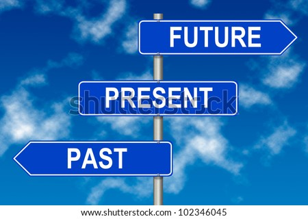 Past Present Future traffic sign on a sky background