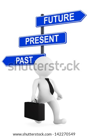 Past Present Future traffic sign with 3d person on a white background