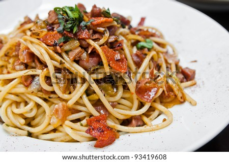 pasta and chicken on the table