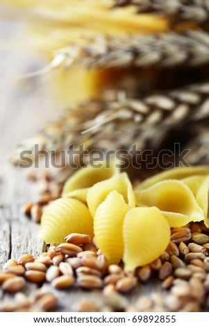 Pasta and grains of wheat
