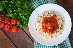 Pasta and meatballs with tomato sauce. Top view