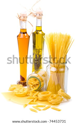 Pasta and olive oil isolated on the white