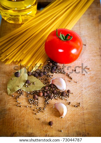 Pasta and red tomato with spices and garlic