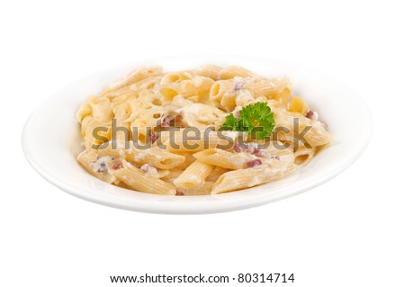 Pasta carbonara on plate isolated on white background
