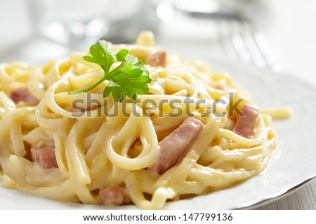 Shutterstock Pasta Carbonara with ham and cheese