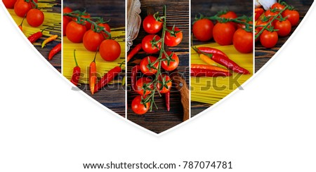 Pasta, chili peppers and cherry tomatoes on wooden background. Ingredients for cooking pasta photo collage from different picture