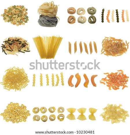 pasta collection isolated on a white background, all pieces individually photographed in studio and no shade so its easy to select