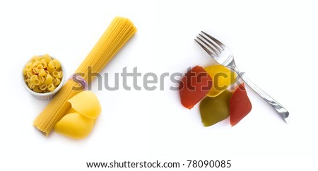 Pasta collection  isolated on white background. top view