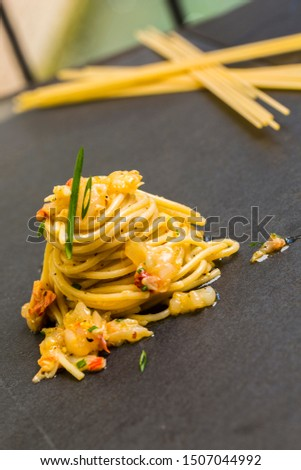 Pasta Fettuccine with shrimp sauce. First courses are the mainstay of italian cuisine