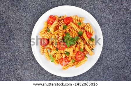 Pasta fusilli with bolognese tomato beef sauce Foto d'archivio ©