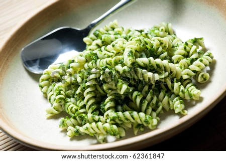 pasta fussili with spinach