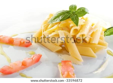 Pasta Garnish With Lemon, Olive Oil And Basil Stock Photo 33596872 ...