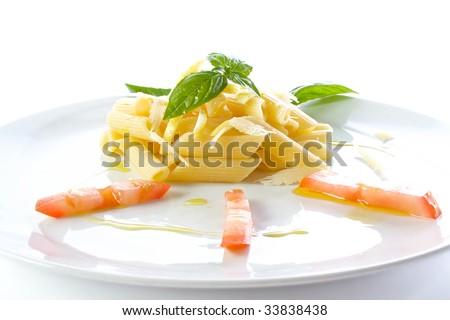 Pasta Garnish With Lemon, Tomato And Olive Oil Stock Photo 33838438 ...