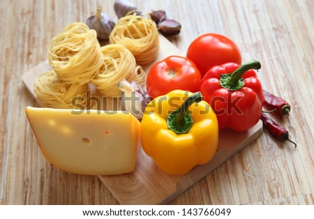 Pasta. Healthy ingrediends in Italian traditional cousine. Mediterranean diet: a real healthy lifestyle. The best against free radicals and fat.