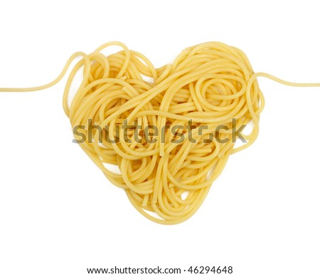 Pasta heart isolated (Valentine`s day theme)