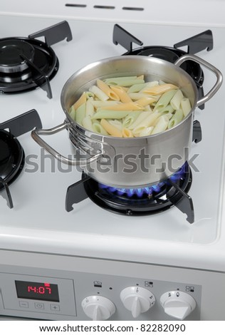 Pasta in a pot on the gas stove.