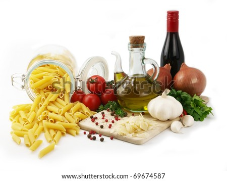 Pasta isolated and ingredients for cooking