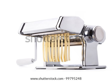 Pasta machine with fresh noodles, Homemade Pasta, isolated on white background